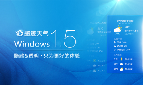 墨迹天气 Windows 1.5桌面版版正式发布!(8月21日)